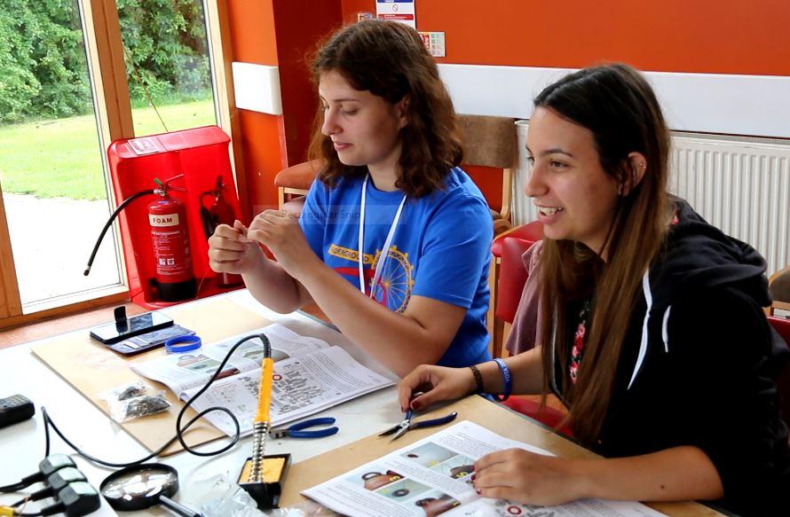 Bulgarian YOTA team members working on the CW transceiver kit