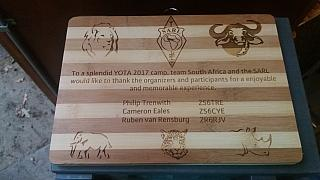 Plaque from the South African team